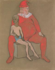 Bouffon et Jeune Acrobate  1905, gouache