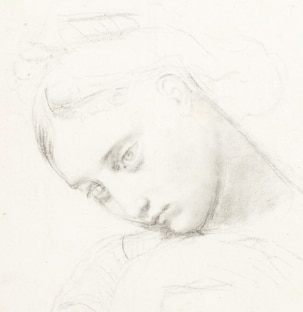 Ingres, THREE STUDIES FOR THE FIGURE OF STRATONICE, detail