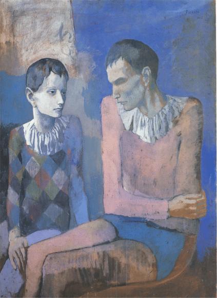 Acrobate et Jeune Arlequin1905, gouache