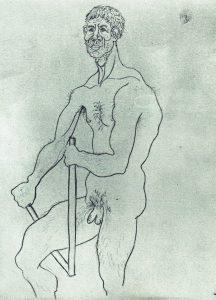 1914 Homme Nu, Brisant un Bâton