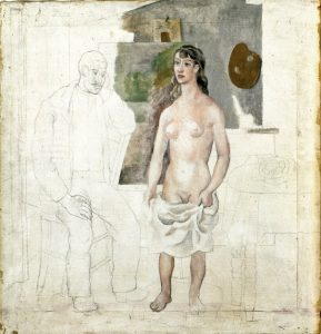 The Artist and his Modeloil & pencil on linen, 1914