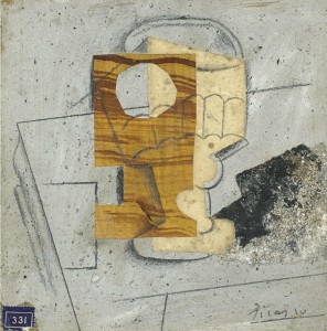 Glass on a Table, 1914 oil, sand, pasted papers & pencil on cardboard