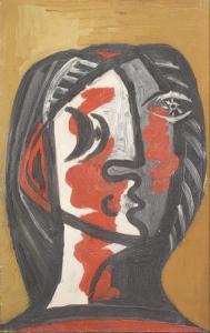 Tête de Femme en Gris et Rouge (sold)