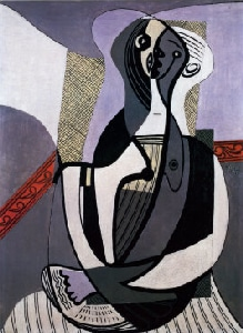 Tête de femme en gris et rouge