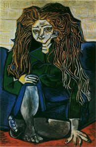 Portrait de madame Hélène Parmelin sur fond vert