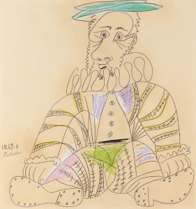 Seated Man, 1969Pencil & colored crayons on paper