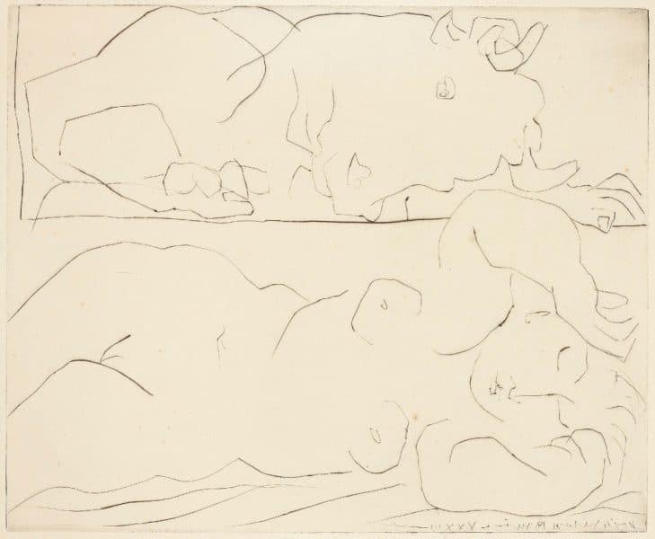Minotaure Contemplant Amoureusement une Dormeuse