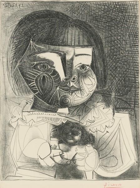 Paloma et sa Poupée sur Fond Noir