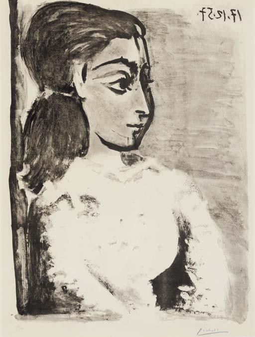Buste de Femme au Corsage Blanc (Jacqueline de Profil)