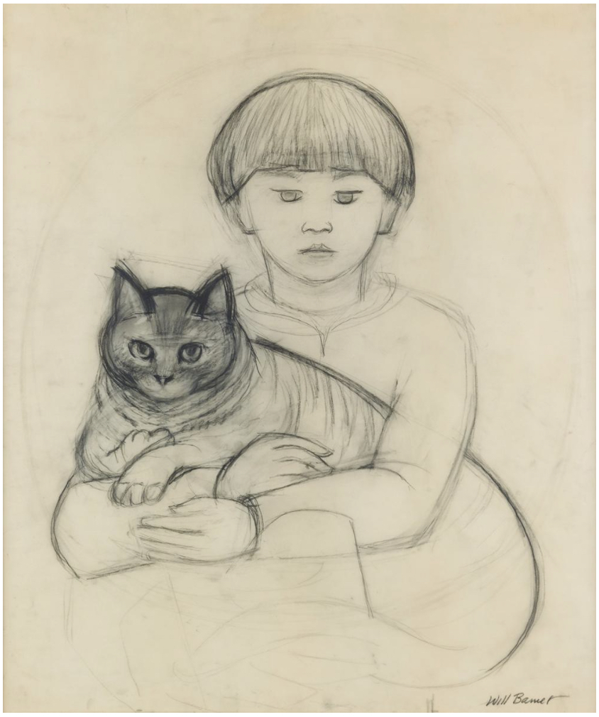 WILL BARNET (1911 - 2012)<br>Boy and Cat